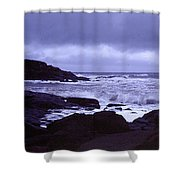 Gale Winds At Nubble Light Shower Curtain