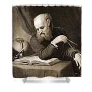Galileo With Compass And Diagrams Shower Curtain