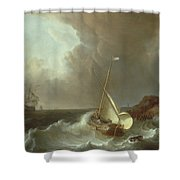 Galleon In Stormy Seas   Shower Curtain by Jan Claes Rietschoof