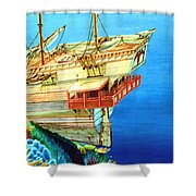 Galleon On The Reef 2 Filtered Shower Curtain