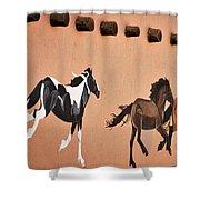 Galloping Horses Mural - Taos Shower Curtain