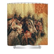 Galloping Wild Mustang Horses Shower Curtain