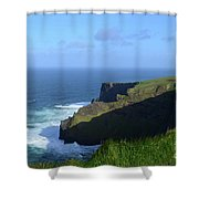 Galway Bay Churning Below The Cliffs Of Moher Shower Curtain