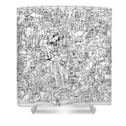 Gaming Themed Coloring Poster Shower Curtain