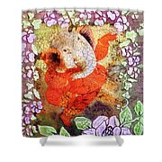 Ganesh In Dancing Pose With Floral Backdrop. Shower Curtain