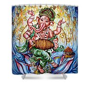 Ganesha Dancing And Playing Mridang Shower Curtain