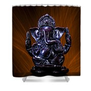 Ganesha With Fire Background Shower Curtain
