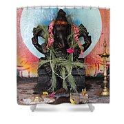 Ganesha With Pink Flowers, Valparai Shower Curtain