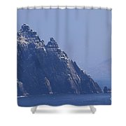 Gannets Fly Around Little Skellig, County Kerry, Ireland Shower Curtain