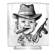 Ganster Child Caricature Shower Curtain