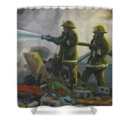 Garage Fire Shower Curtain