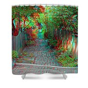 Garden Alley - Use Red-cyan 3d Glasses Shower Curtain