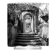 Garden Arches Of Vizcaya - Black And White Shower Curtain