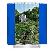 Old Garden Beach Flowers Shower Curtain