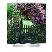 Garden Bench And Trellis Shower Curtain