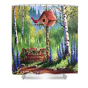 Garden Birdhouse Shower Curtain