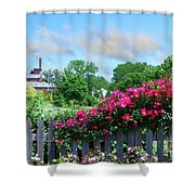 Garden Fence And Roses Shower Curtain