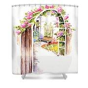 Garden Gate Botanical Landscape Shower Curtain