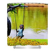 Garden Swing By The River Shower Curtain