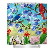 Garden View Birds And Butterfly Shower Curtain