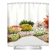 Garden Wild Flowers Watercolor Shower Curtain