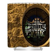 Illuminated Night View - Beautiful Revival House Through A Fence Window Shower Curtain