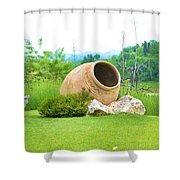 Garden With Amphora. Shower Curtain