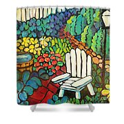 Garden With Lamp By Peggy Johnson Shower Curtain
