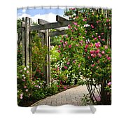 Garden With Roses Shower Curtain by Elena Elisseeva