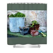 Gardening Pots And Small Shovel Against Stone Wall In Primosten, Croatia Shower Curtain