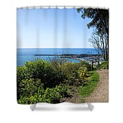 Gardens Overview - Lyme Regis Shower Curtain