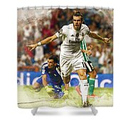 Gareth Bale Celebrates His Goal  Shower Curtain