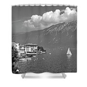 Gargnano On Lake Garda, Italy.    Black And White Shower Curtain