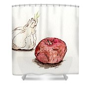 Garlic And Apple Shower Curtain