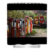 Gas Pump Conga Line In New Mexico Shower Curtain
