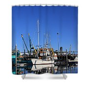 Glassy Harbor Reflection Shower Curtain