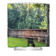 Gate And Brick Wall At Shiloh Cemetery Shower Curtain