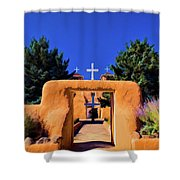 gate of church in Ranchos Shower Curtain
