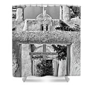 Gate To Ranchos Church Black And White Shower Curtain