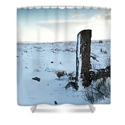 Gatepost In The Snow Shower Curtain