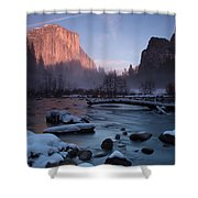 Gates Of The Valley In Winter Shower Curtain