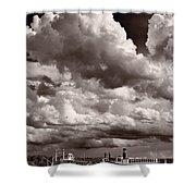 Gathering Clouds Over Lake Geneva Bw Shower Curtain