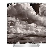 Gathering Clouds Over Lake Geneva Bw Shower Curtain