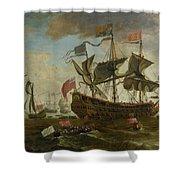 Gathering Of English Ships Shower Curtain