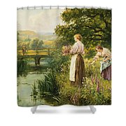 Gathering Spring Flowers Shower Curtain
