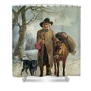 Gathering Winter Fuel  Shower Curtain by John Barker