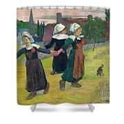 Gauguin, Breton Girls, 1888 Shower Curtain