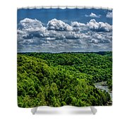 Gauley River Canyon And Clouds Shower Curtain