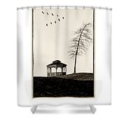 Gazebo And Geese Poster Shower Curtain