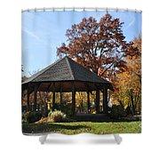 Gazebo At North Ridgeville - Autumn Shower Curtain